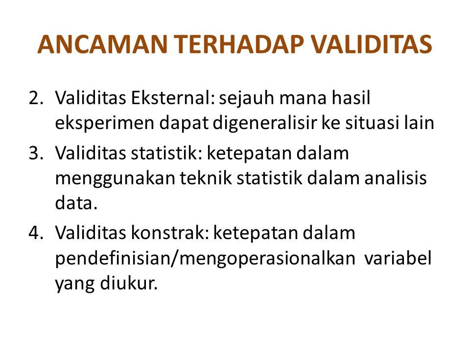 ANCAMAN TERHADAP VALIDITAS 2.Validitas Eksternal: sejauh mana hasil eksperimen dapat digeneralisir ke situasi lain 3.Validitas statistik: ketepatan da