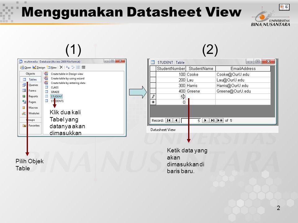 2 Menggunakan Datasheet View Klik dua kali Tabel yang datanya akan dimasukkan Ketik data yang akan dimasukkan di baris baru.