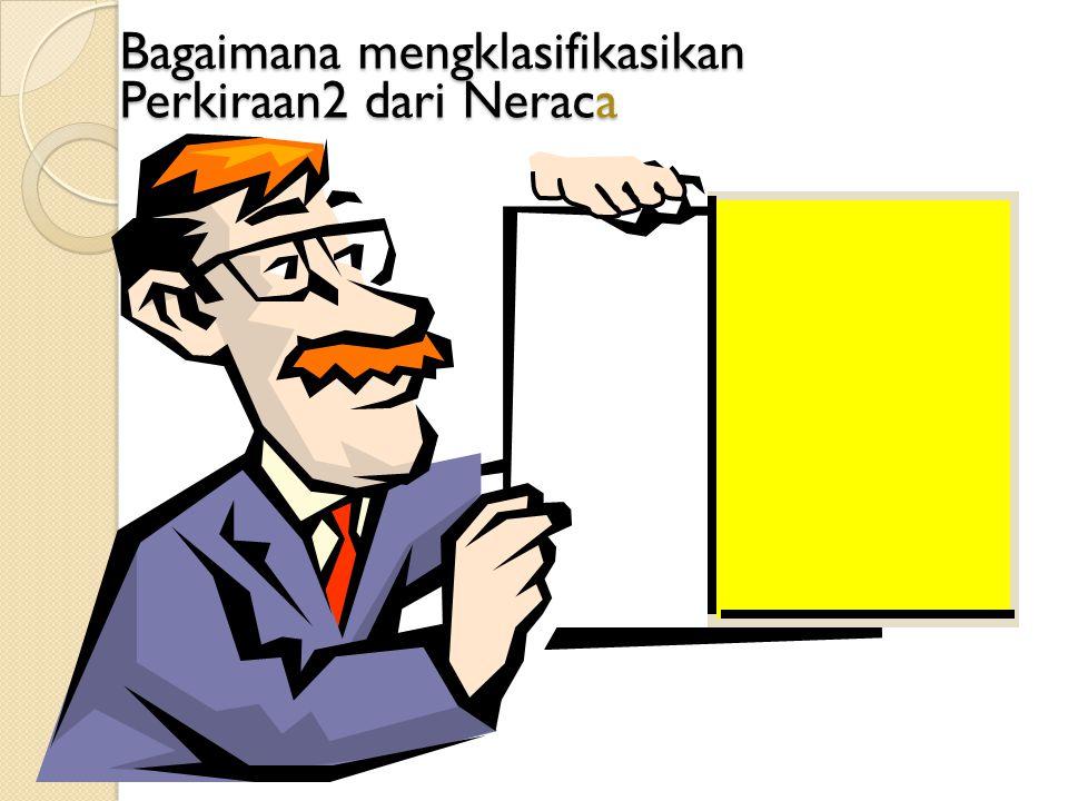 Bagaimana mengklasifikasikan Perkiraan2 dari Neraca Lancar (Kurang dari 1 tahun) Lancar (Kurang dari 1 tahun) Tidak Lancar (Lebih dari 1 tahun) Tidak