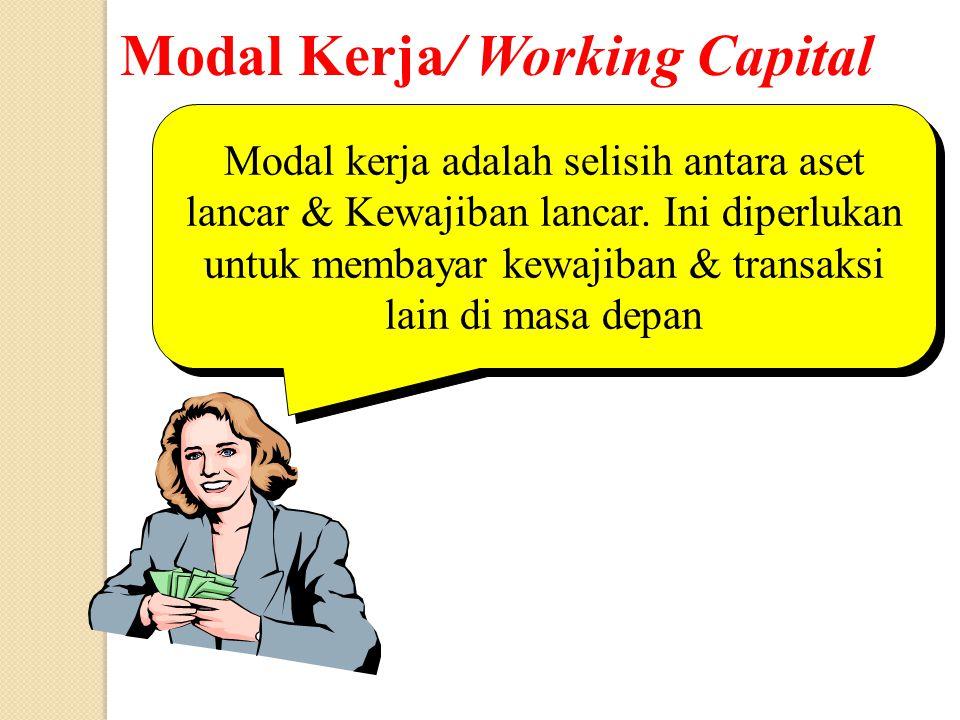 Modal Kerja/ Working Capital Modal kerja adalah selisih antara aset lancar & Kewajiban lancar. Ini diperlukan untuk membayar kewajiban & transaksi lai