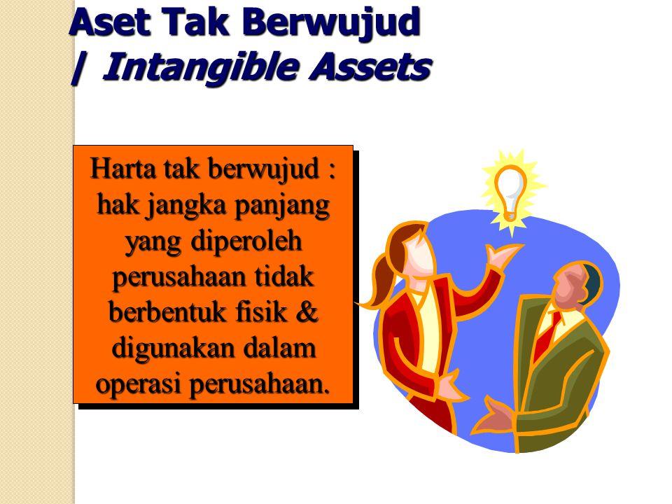 Aset Tak Berwujud / Intangible Assets Harta tak berwujud : hak jangka panjang yang diperoleh perusahaan tidak berbentuk fisik & digunakan dalam operas