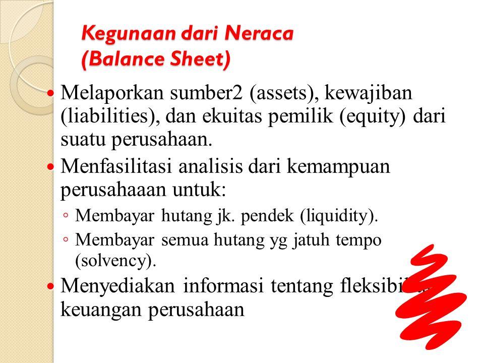 Kegunaan dari Neraca (Balance Sheet) Melaporkan sumber2 (assets), kewajiban (liabilities), dan ekuitas pemilik (equity) dari suatu perusahaan. Melapor