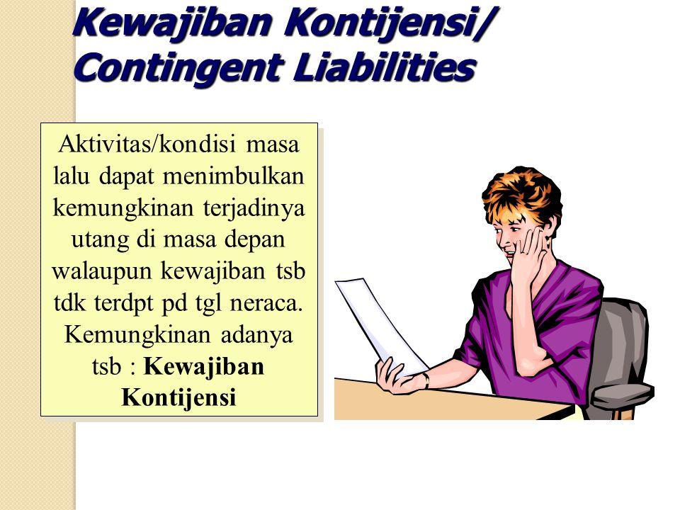 Kewajiban Kontijensi/ Contingent Liabilities Aktivitas/kondisi masa lalu dapat menimbulkan kemungkinan terjadinya utang di masa depan walaupun kewajib