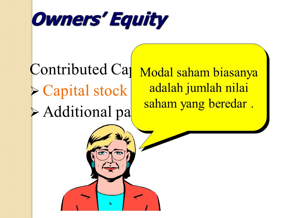 Contributed Capital:  Capital stock  Additional paid-in capital Owners' Equity Modal saham biasanya adalah jumlah nilai saham yang beredar.
