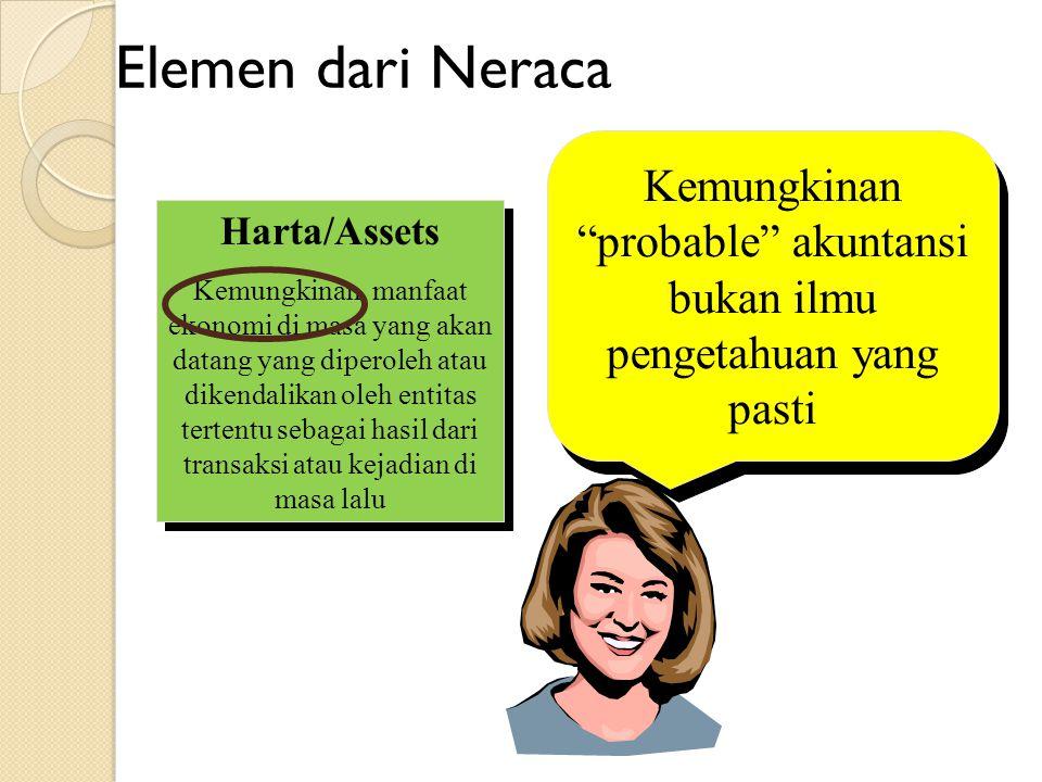 Elemen dari Neraca Harta/Assets Kemungkinan manfaat ekonomi di masa yang akan datang yang diperoleh atau dikendalikan oleh entitas tertentu sebagai ha