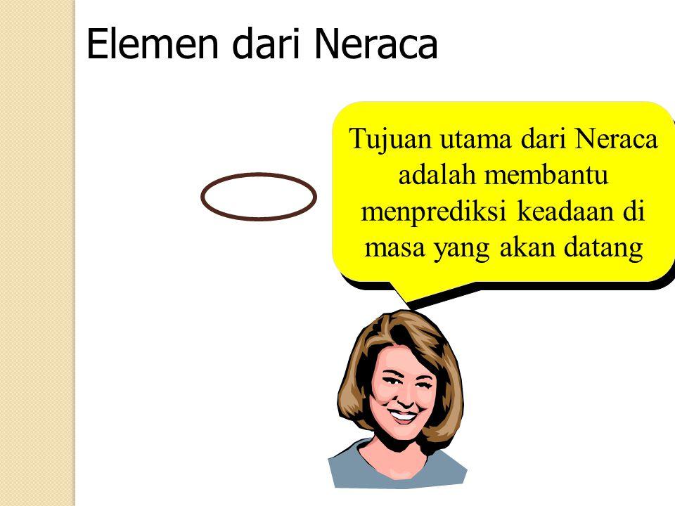 Elemen dari Neraca Jenis harta yang ada di Neraca al: Kas, piutang usaha, tanah, gedung, peralatan & perlengkapan dll.