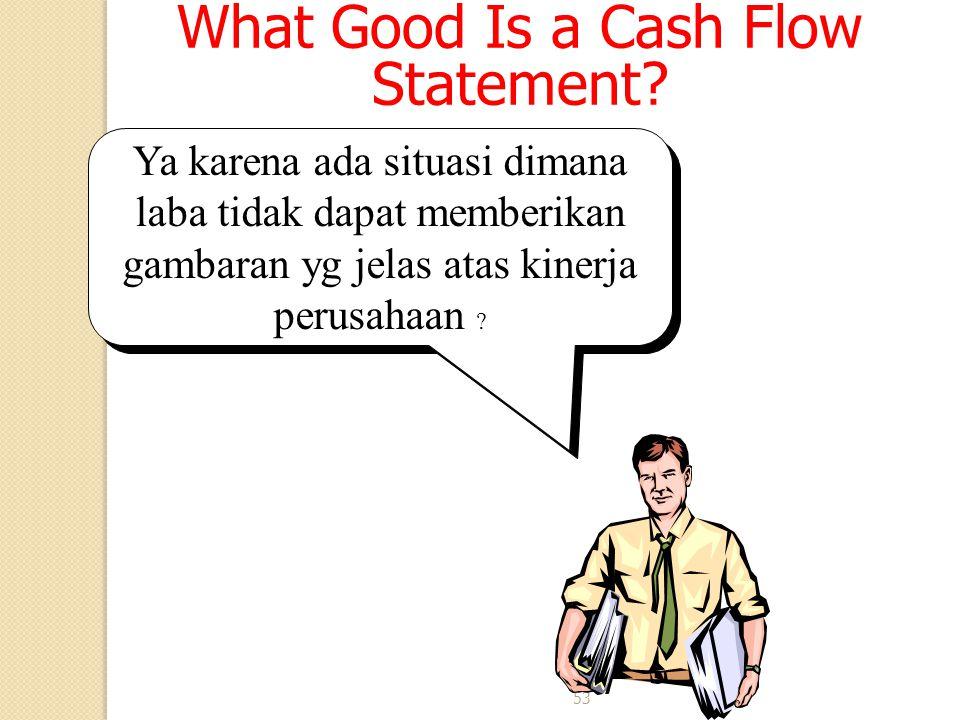 53 What Good Is a Cash Flow Statement? Ya karena ada situasi dimana laba tidak dapat memberikan gambaran yg jelas atas kinerja perusahaan ?