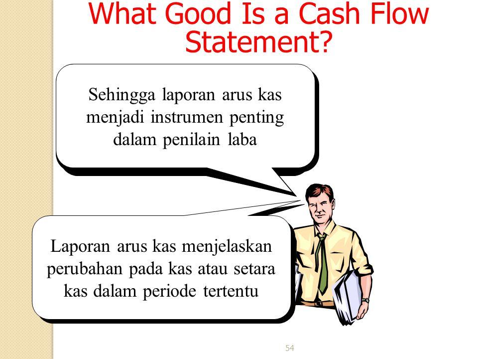 54 What Good Is a Cash Flow Statement? Begitu juga hal-hal lain yg berhubungan dengan laporan keuangan akan ada di laporan arus kas Sehingga laporan a