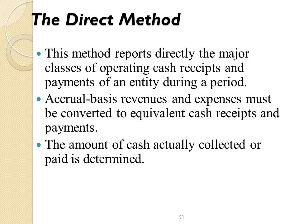 63 The Direct Method This method reports directly the major classes of operating cash receipts and payments of an entity during a period. Accrual-basi