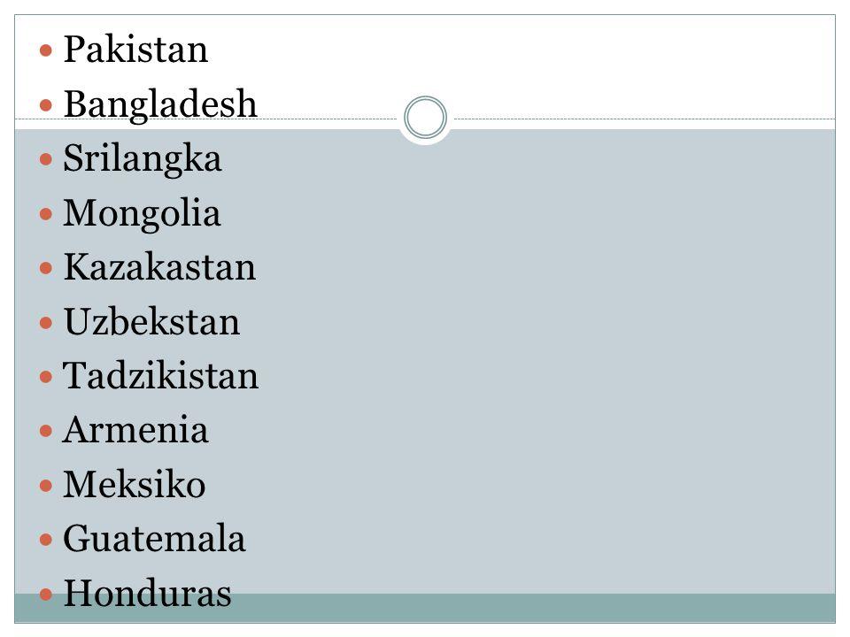 Pakistan Bangladesh Srilangka Mongolia Kazakastan Uzbekstan Tadzikistan Armenia Meksiko Guatemala Honduras