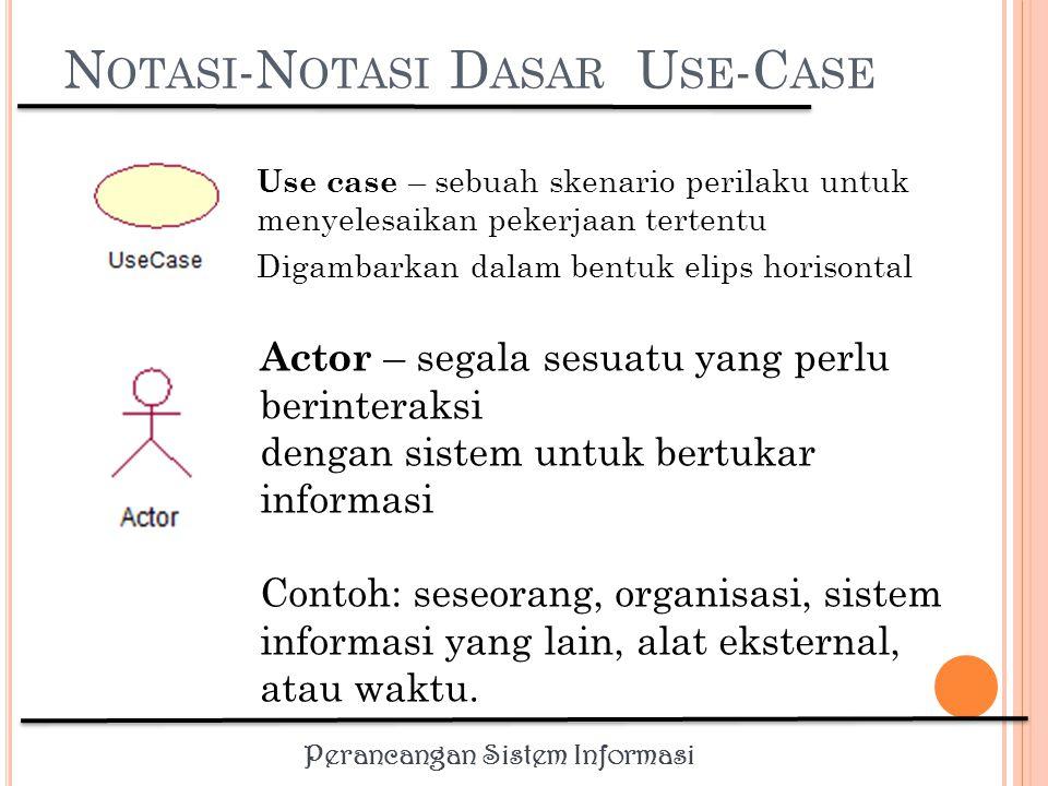 Perancangan Sistem Informasi USE CASE Use case dibuat berdasar keperluan actor, merupakan apa yang dikerjakan system, bukan bagaimana system mengerjakannya Use case diberi nama yang menyatakan apa hal yang dicapai dari hasil interaksinya dengan actor.
