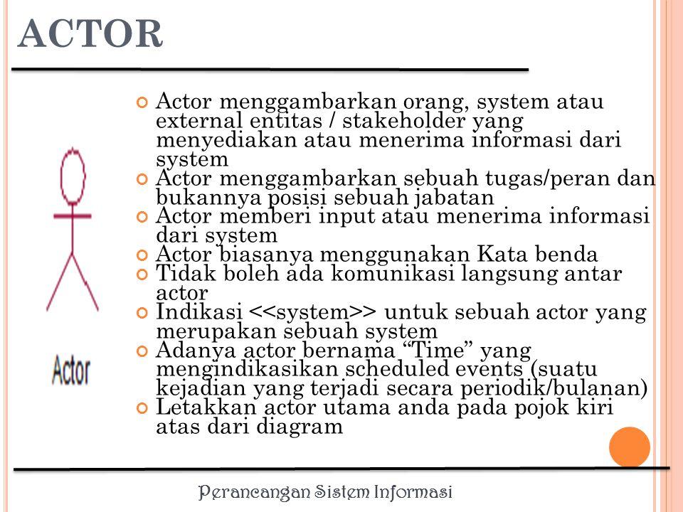 Perancangan Sistem Informasi E MPAT T IPE A KTOR Primary business actor Stakeholder yang paling diuntungkan dari terlaksananya use-case dengan menerima sesuatu yang dapat diukur Contoh: karyawan yang menerima pembayaran Primary system actor Stakeholder yang berinteraksi secara langsung dengan sistem untuk memicu kejadian bisnis atau sistem (business or system events) Contoh: teller sebuah bank yang memasukkan informasi deposit External server actor Stakeholder yang menanggapi permintaan dari use- case Contoh: biro kredit melakukan otorisasi charge sebuah credit card External receiver actor Stakeholder yang meski bukan primary actor tapi menerima sesuatu yang bernilai dari use-case Contoh: gudang menerima packing slip1 Actor 1 Actor 3 Actor 2 Use case 1 Use case 2 Use case 3