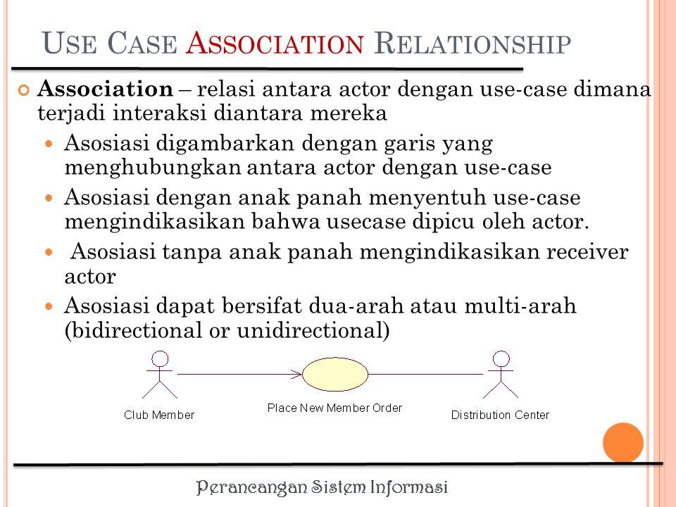 Perancangan Sistem Informasi R ELATIONSHIP Hubungan yang terjadi antar simbol dalam use case Menggunakan garis dan tipe simbol yang digunakan untuk menghubungkan garis.