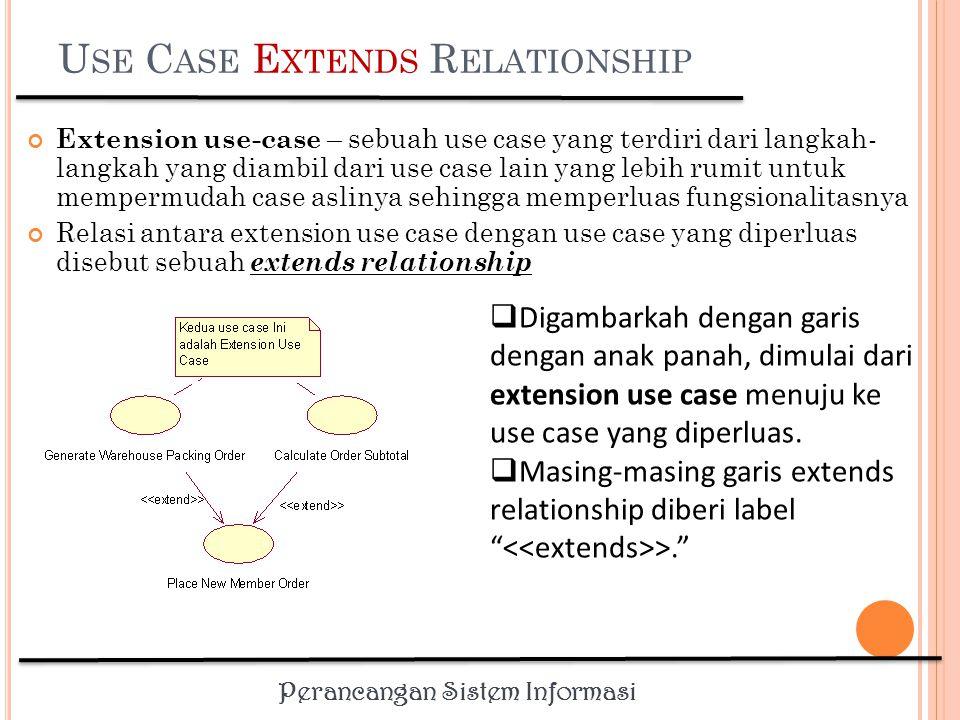 Perancangan Sistem Informasi U SE C ASE E XTENDS R ELATIONSHIP Memungkinkan suatu use case secara optional menggunakan fungsionalitas yang disediakan oleh use case lainnya.
