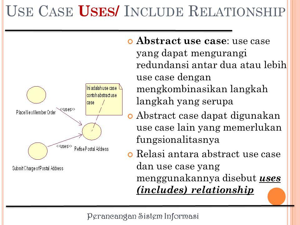 Perancangan Sistem Informasi U SE C ASE U SES / I NCLUDE R ELATIONSHIP Memungkinkan satu use case menggunakan fungsionalitas yang disediakan oleh use case lainnya.