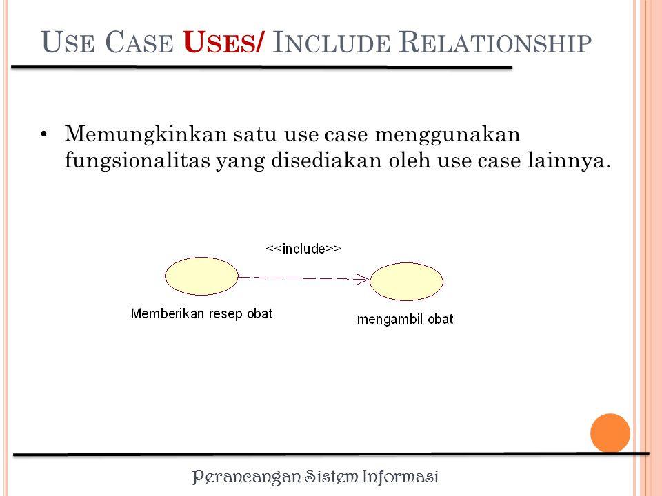 Perancangan Sistem Informasi U SE C ASE D EPENDS O N R ELATIONSHIP Depends On – relasi use case yang menentukan use case lain mana yang harus dilakukan sebelum use case yang bersangkutan Dapat menentukan urutan dimana use case perlu dikembangkan