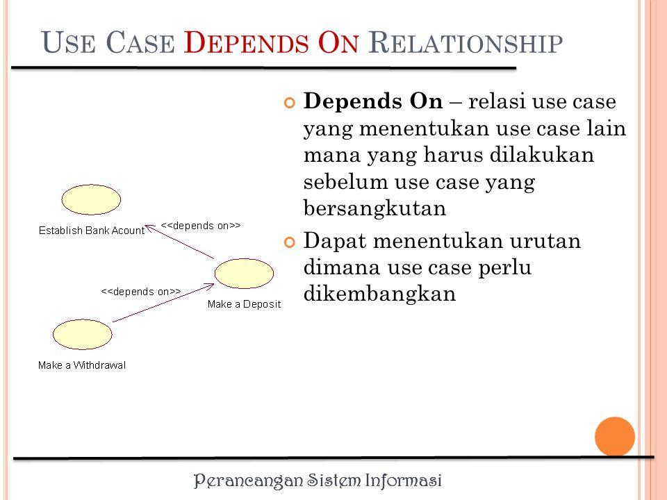 Perancangan Sistem Informasi U SE C ASE I NHERITANCE R ELATIONSHIP Inheritance – relasi use case dimana perilaku dari dua actor yang memulai use case yang sama diekstrapolasi dan ditugaskan pada satu abstract actor untuk mengurangi redundansi Actor-actor lain dapat mewarisi (inherit) interaksi dari abstract actor
