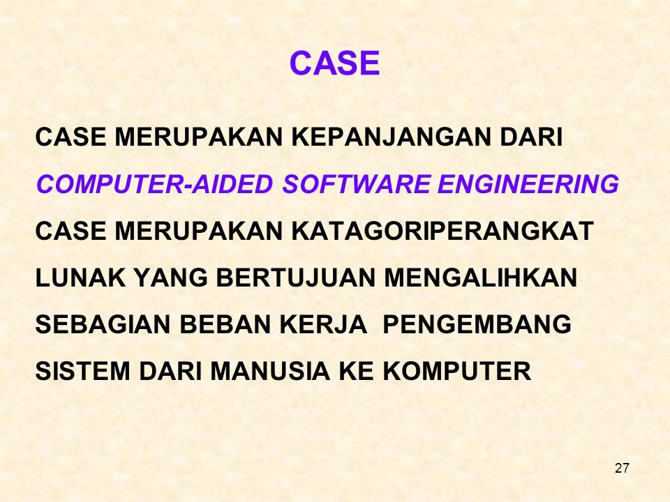 27 CASE CASE MERUPAKAN KEPANJANGAN DARI COMPUTER-AIDED SOFTWARE ENGINEERING CASE MERUPAKAN KATAGORIPERANGKAT LUNAK YANG BERTUJUAN MENGALIHKAN SEBAGIAN