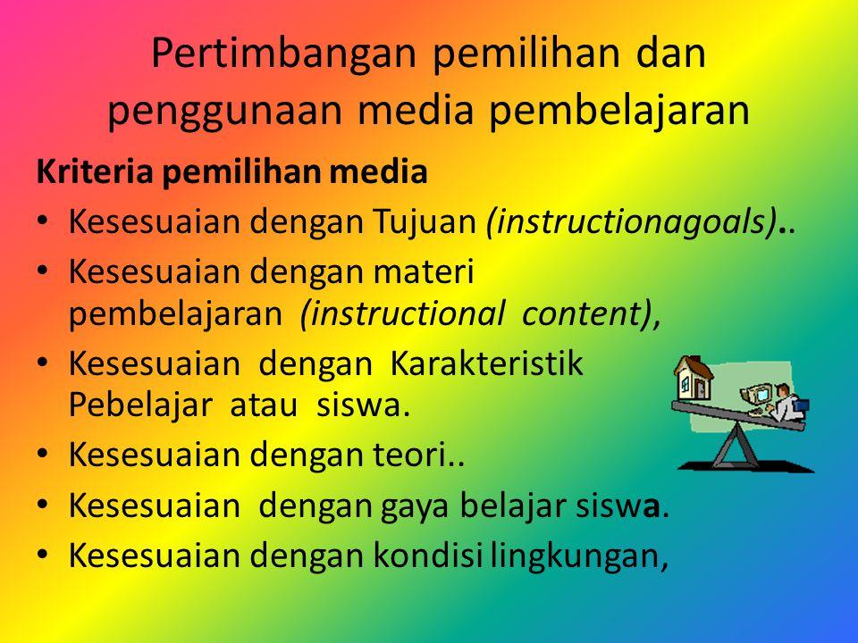 Pertimbangan pemilihan dan penggunaan media pembelajaran Kriteria pemilihan media Kesesuaian dengan Tujuan (instructionagoals)..