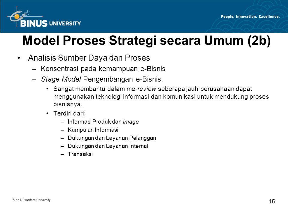 Bina Nusantara University 15 Model Proses Strategi secara Umum (2b) Analisis Sumber Daya dan Proses –Konsentrasi pada kemampuan e-Bisnis –Stage Model Pengembangan e-Bisnis: Sangat membantu dalam me-review seberapa jauh perusahaan dapat menggunakan teknologi informasi dan komunikasi untuk mendukung proses bisnisnya.