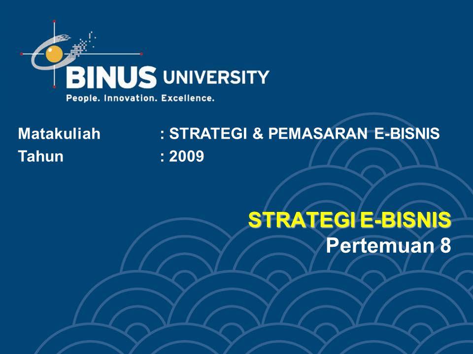 STRATEGI E-BISNIS STRATEGI E-BISNIS Pertemuan 8 Matakuliah: STRATEGI & PEMASARAN E-BISNIS Tahun: 2009