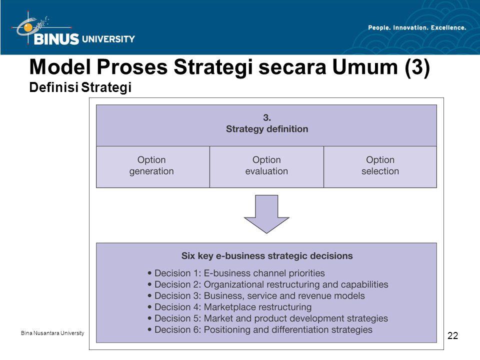 Bina Nusantara University 22 Model Proses Strategi secara Umum (3) Definisi Strategi