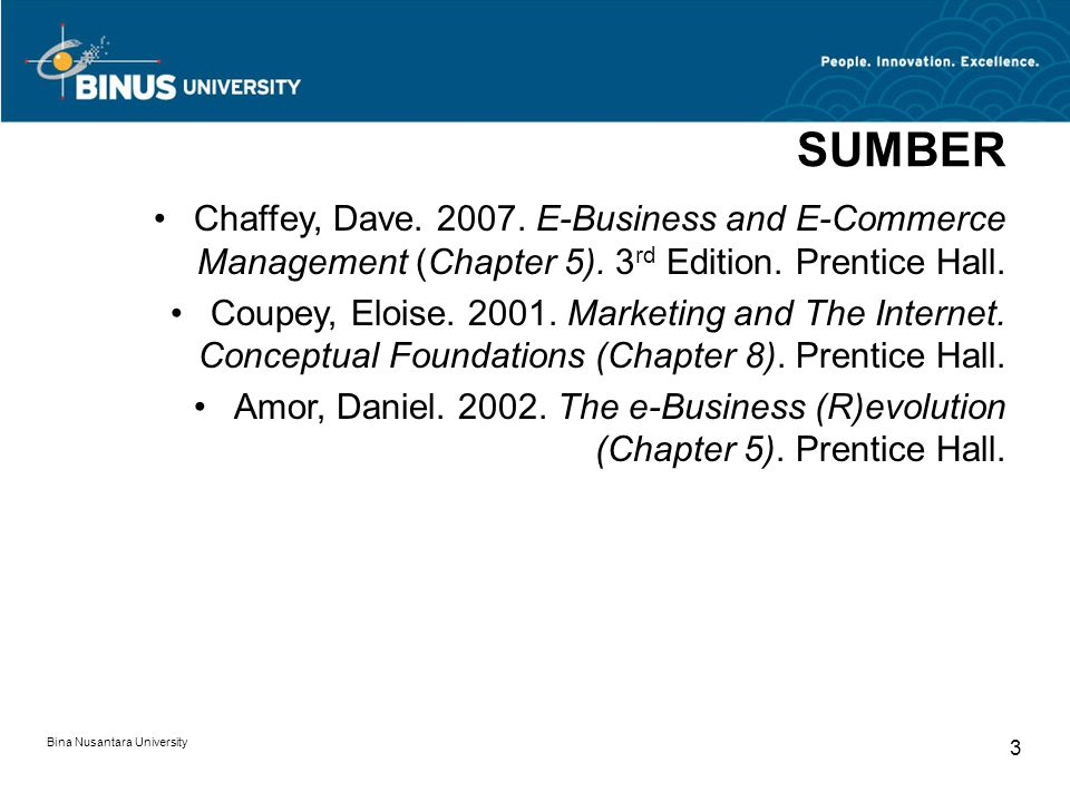 Bina Nusantara University 3 SUMBER Chaffey, Dave. 2007. E-Business and E-Commerce Management (Chapter 5). 3 rd Edition. Prentice Hall. Coupey, Eloise.