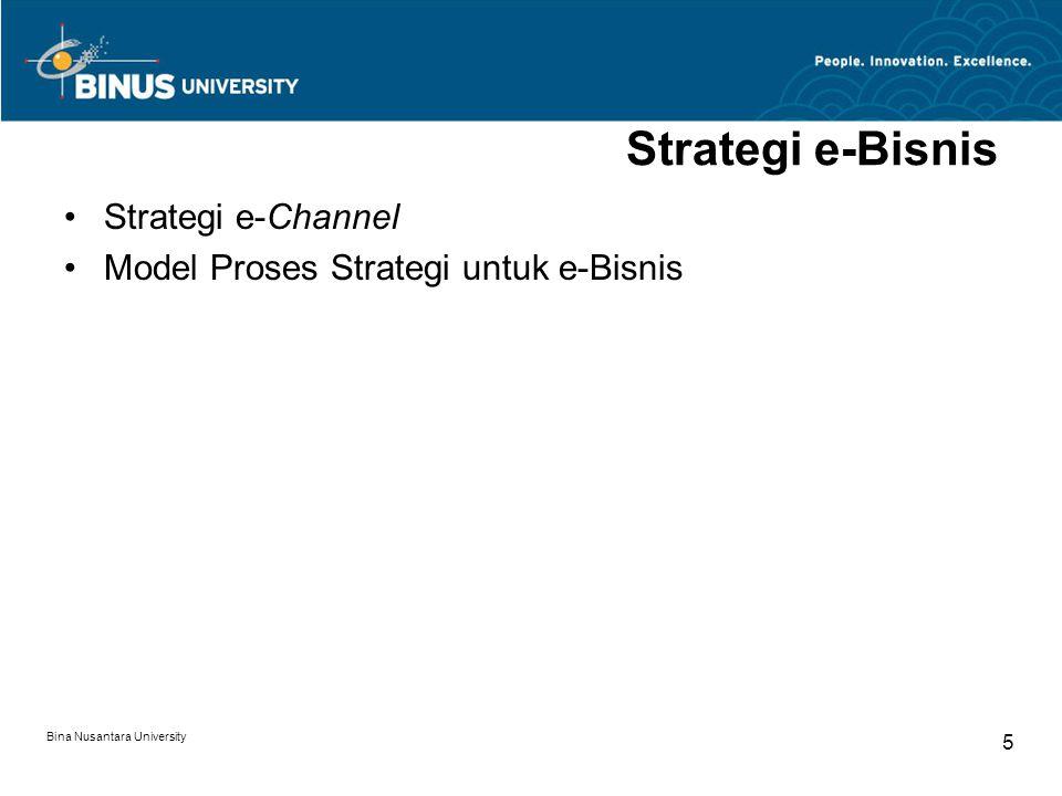 Bina Nusantara University 6 Strategi e-Bisnis Strategi e-Bisnis berjalan bersama dengan Strategi Korporasi dan Strategi Bisnis & Pemasaran.