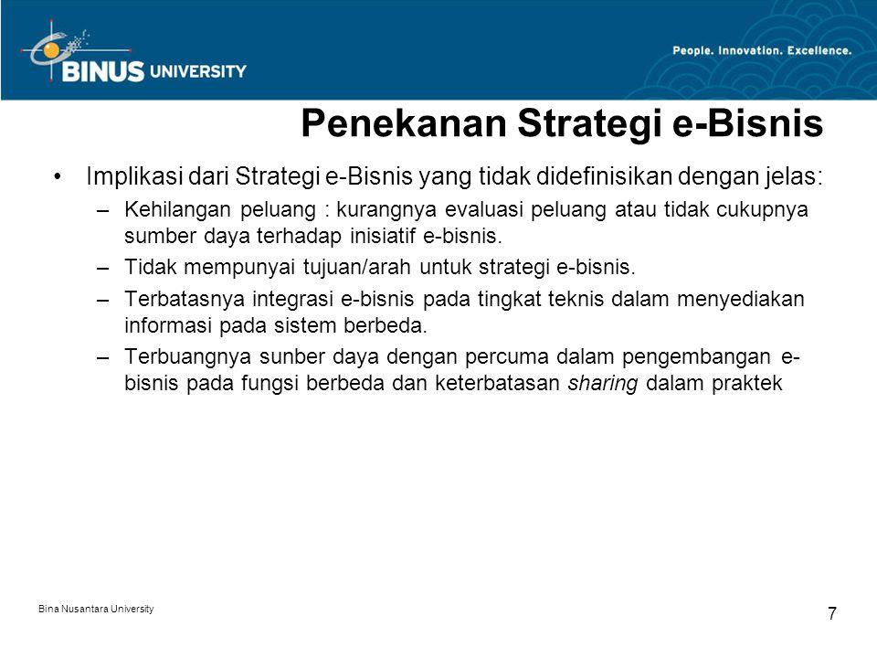 Bina Nusantara University 18 Model Proses Strategi secara Umum (2d) Analisis lainnya: –Analisis SWOT Gambar: Contoh Analisis SWOT dalam perusahaan B2B