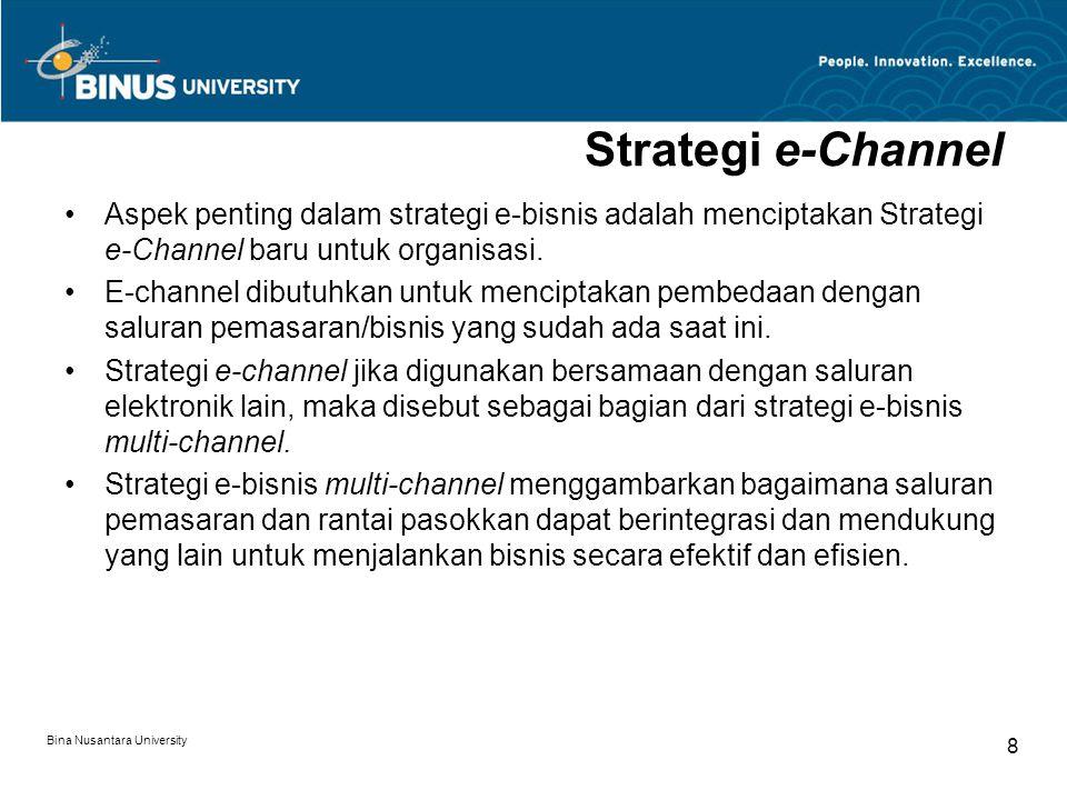 Bina Nusantara University 9 Strategi e-Channel (2) Karakteristik strategi e-bisnis multi-saluran (multi-channel): –Strategi e-bisnis adalah salah satu strategi e-channel.