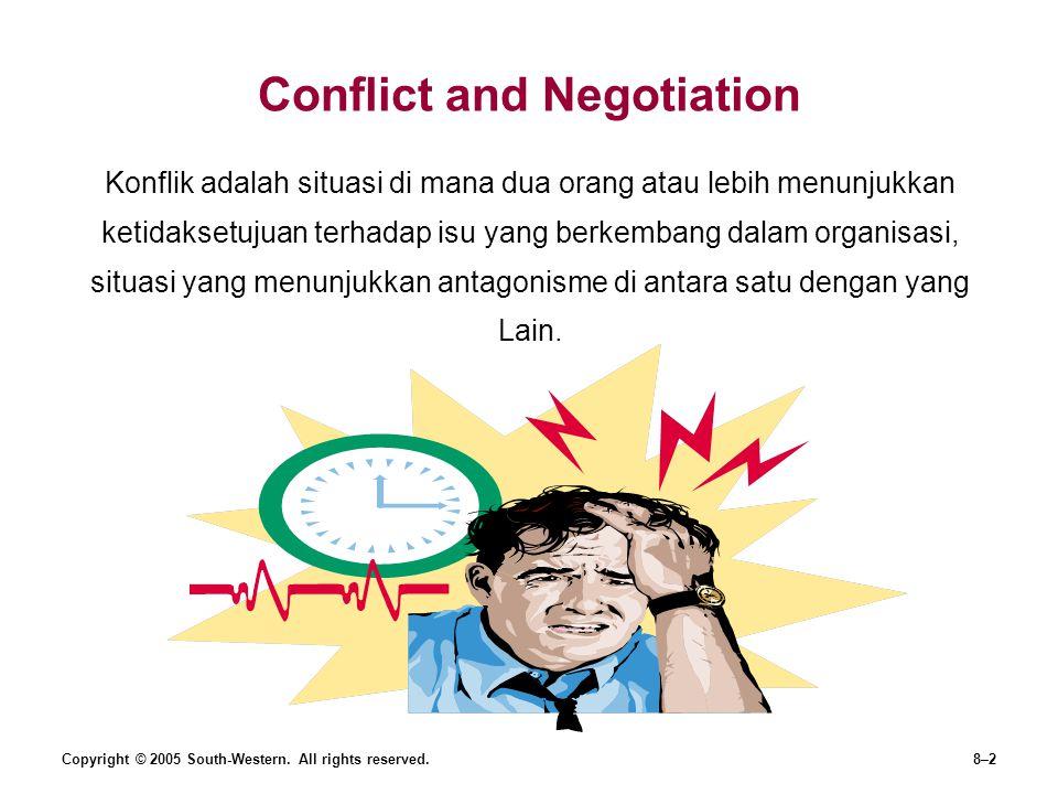 Copyright © 2005 South-Western. All rights reserved.8–2 Conflict and Negotiation Konflik adalah situasi di mana dua orang atau lebih menunjukkan ketid