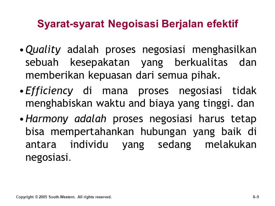 Copyright © 2005 South-Western. All rights reserved.8–9 Syarat-syarat Negoisasi Berjalan efektif Quality adalah proses negosiasi menghasilkan sebuah k