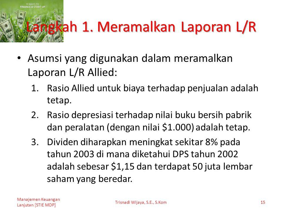 Langkah 1. Meramalkan Laporan L/R Asumsi yang digunakan dalam meramalkan Laporan L/R Allied: 1.Rasio Allied untuk biaya terhadap penjualan adalah teta