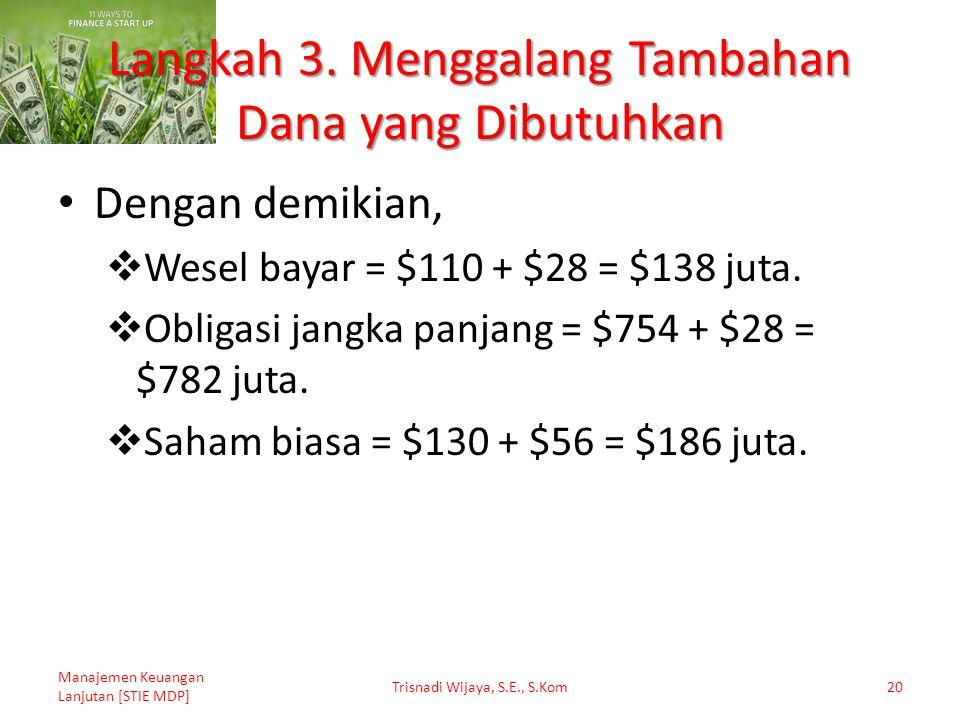 Langkah 3. Menggalang Tambahan Dana yang Dibutuhkan Dengan demikian,  Wesel bayar = $110 + $28 = $138 juta.  Obligasi jangka panjang = $754 + $28 =