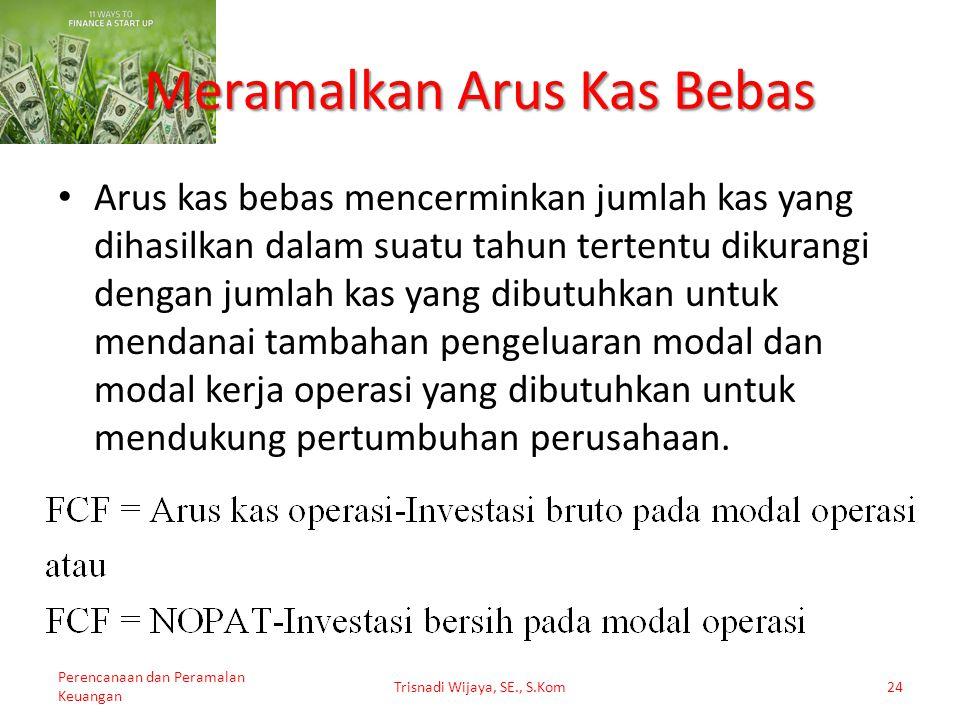 Trisnadi Wijaya, SE., S.Kom24 Meramalkan Arus Kas Bebas Perencanaan dan Peramalan Keuangan Arus kas bebas mencerminkan jumlah kas yang dihasilkan dala