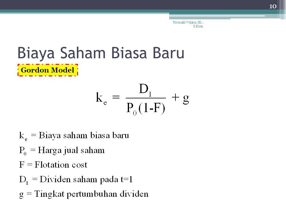 Biaya Saham Biasa Baru 10 Trisnadi Wijaya, SE., S.Kom Gordon Model