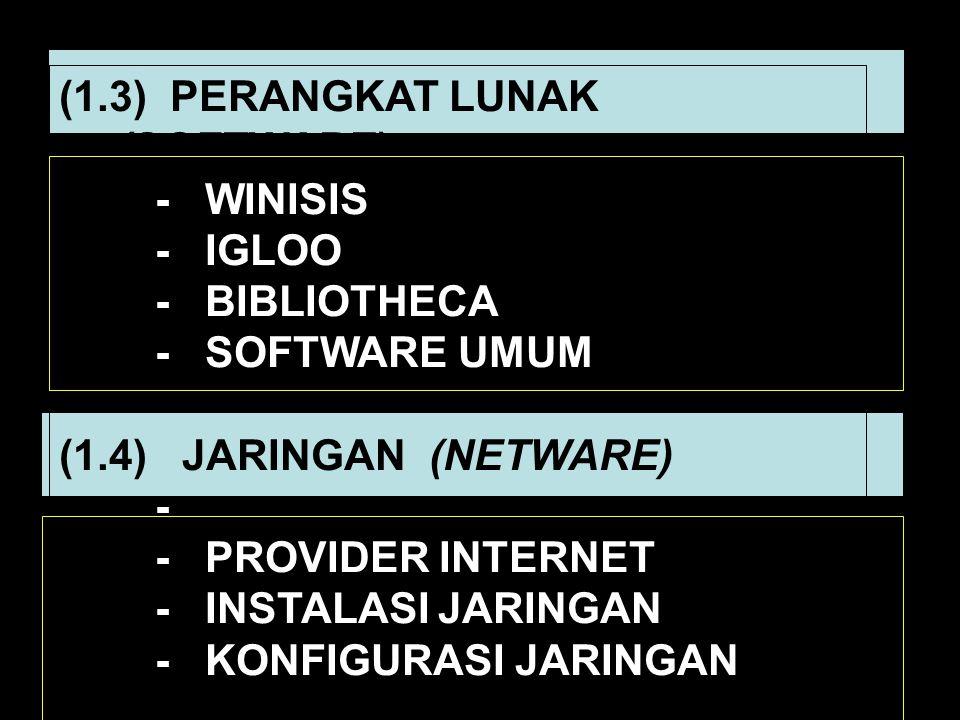 (1.3) PERANGKAT LUNAK (SOFTWARE) - WINISIS - IGLOO - BIBLIOTHECA - SOFTWARE UMUM (1.4) JARINGAN (NETWARE) - - PROVIDER INTERNET - INSTALASI JARINGAN -