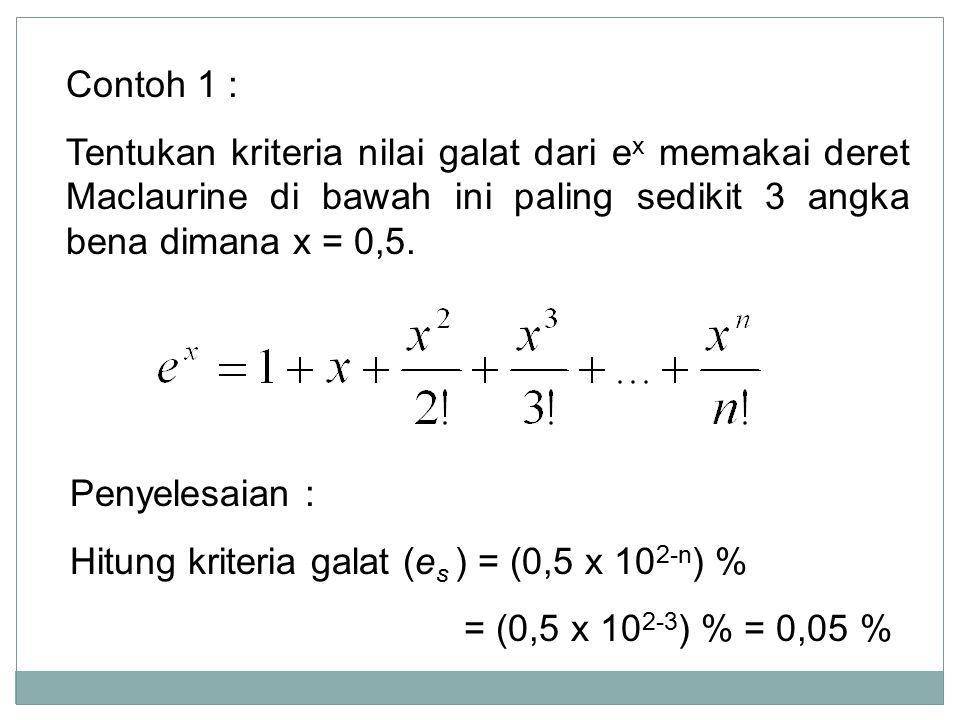 Contoh 1 : Tentukan kriteria nilai galat dari e x memakai deret Maclaurine di bawah ini paling sedikit 3 angka bena dimana x = 0,5. Penyelesaian : Hit