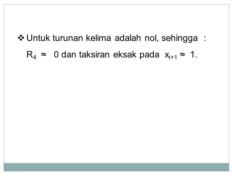  Untuk turunan kelima adalah nol, sehingga : R 4 ≈ 0 dan taksiran eksak pada x i+1 ≈ 1.