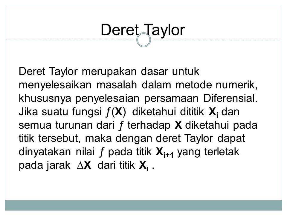 Deret Taylor Deret Taylor merupakan dasar untuk menyelesaikan masalah dalam metode numerik, khususnya penyelesaian persamaan Diferensial. Jika suatu f