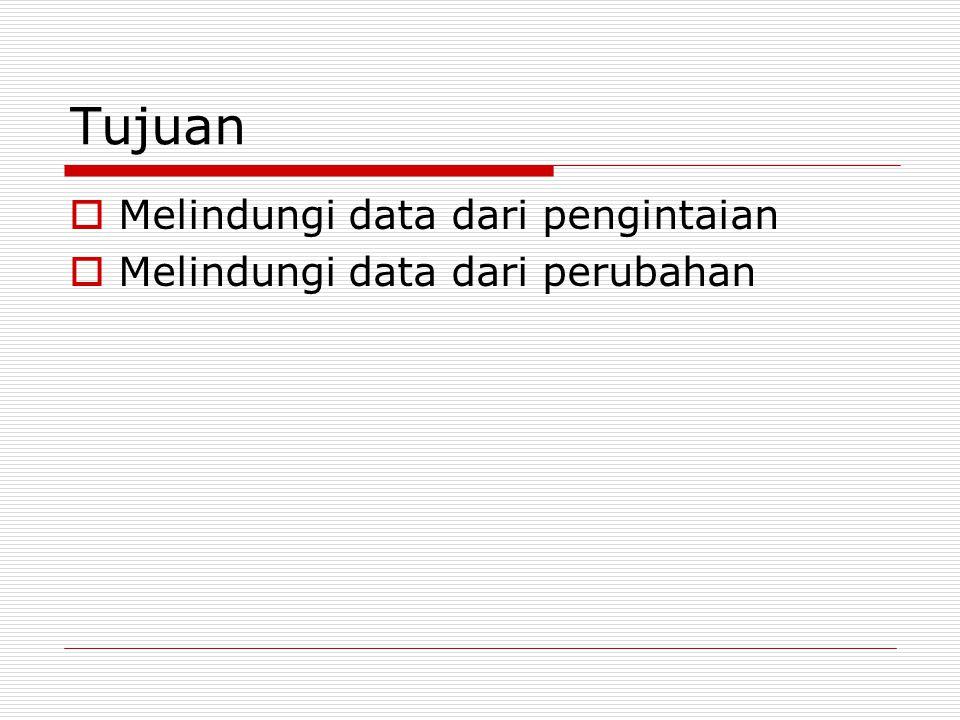 Tujuan  Melindungi data dari pengintaian  Melindungi data dari perubahan