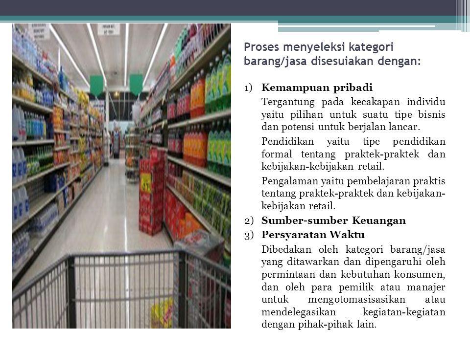 Proses menyeleksi kategori barang/jasa disesuiakan dengan: 1) Kemampuan pribadi Tergantung pada kecakapan individu yaitu pilihan untuk suatu tipe bisn