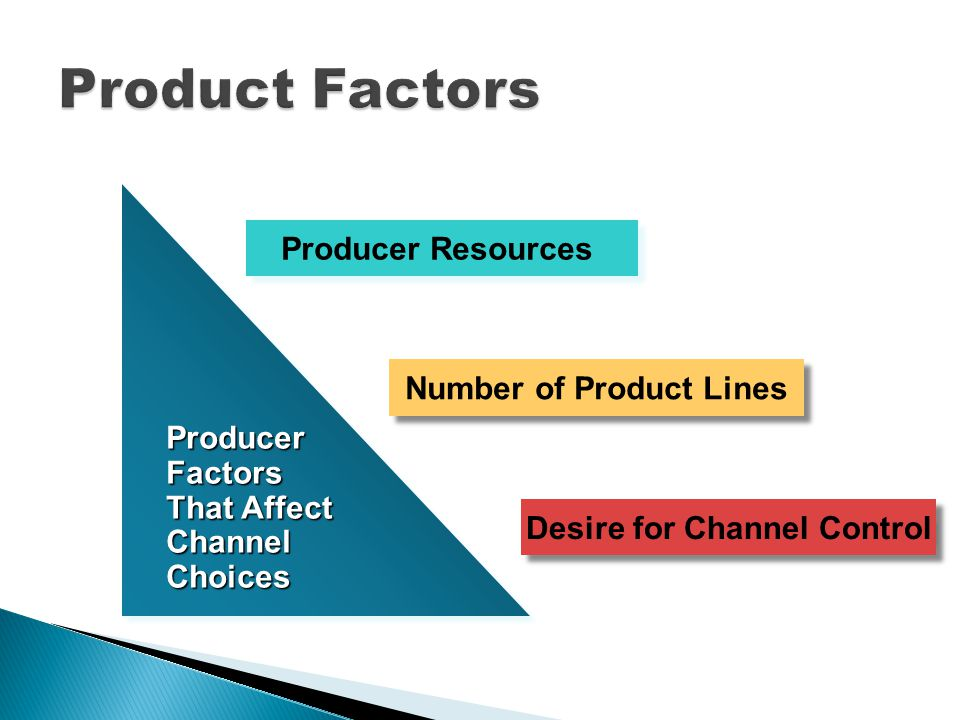 Producer Factors That Affect Channel Choices Producer Factors That Affect Channel Choices Producer Resources Number of Product Lines Desire for Channel Control