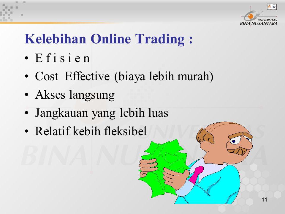 11 Kelebihan Online Trading : E f i s i e n Cost Effective (biaya lebih murah) Akses langsung Jangkauan yang lebih luas Relatif kebih fleksibel