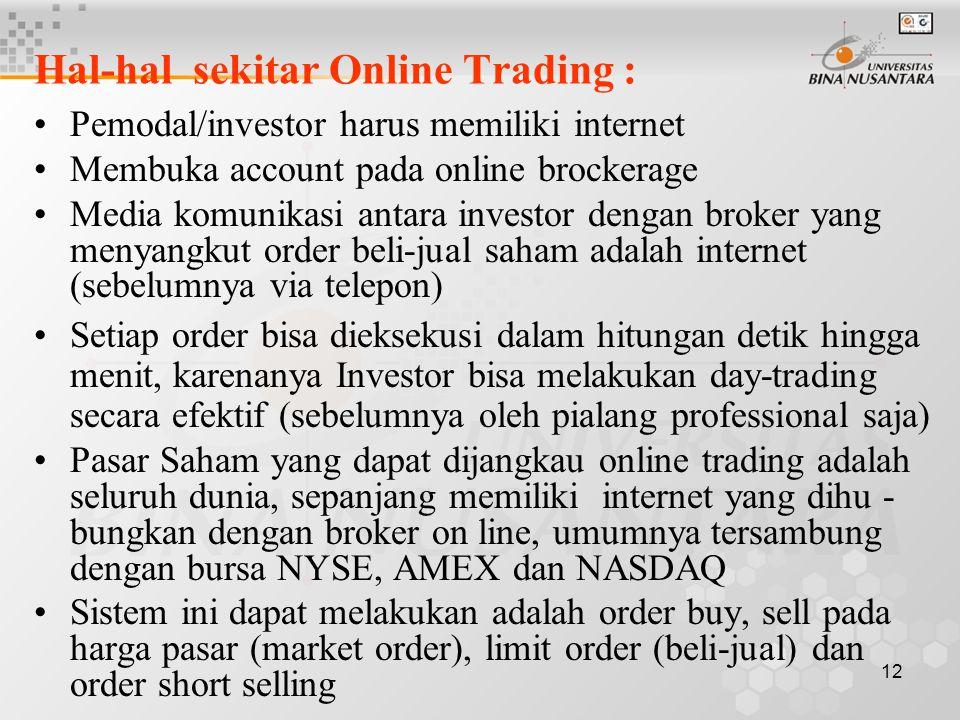 12 Hal-hal sekitar Online Trading : Pemodal/investor harus memiliki internet Membuka account pada online brockerage Media komunikasi antara investor d