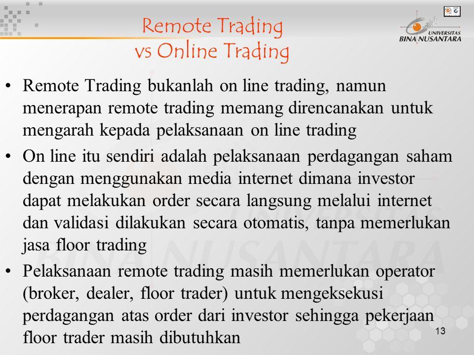 13 Remote Trading bukanlah on line trading, namun menerapan remote trading memang direncanakan untuk mengarah kepada pelaksanaan on line trading On li