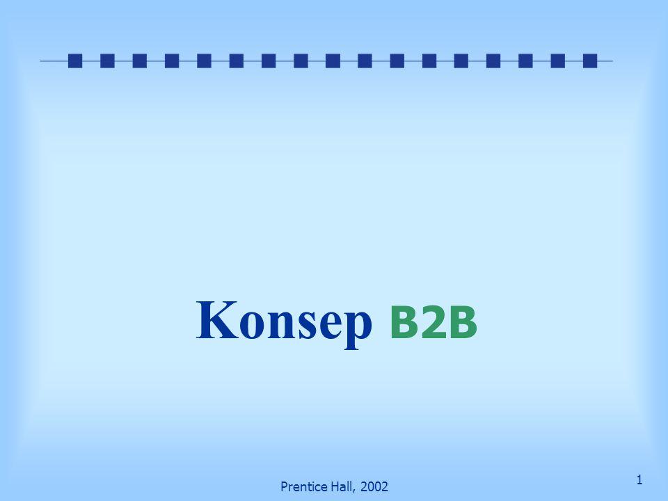 2 Prentice Hall, 2002 Tujuan pembelajaran Memahami konsep dan karakteristik B2B Menggambarkan tipe model B2B Menggambarkan karakteristik marketplace sell-side dan buy side