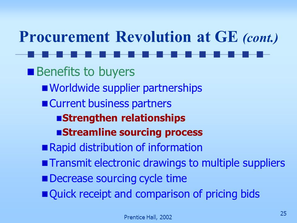 25 Prentice Hall, 2002 Procurement Revolution at GE (cont.) Benefits to buyers Worldwide supplier partnerships Current business partners Strengthen relationships Streamline sourcing process Rapid distribution of information Transmit electronic drawings to multiple suppliers Decrease sourcing cycle time Quick receipt and comparison of pricing bids