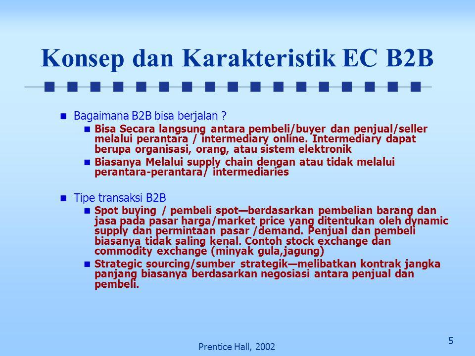 5 Prentice Hall, 2002 Konsep dan Karakteristik EC B2B Bagaimana B2B bisa berjalan ? Bisa Secara langsung antara pembeli/buyer dan penjual/seller melal
