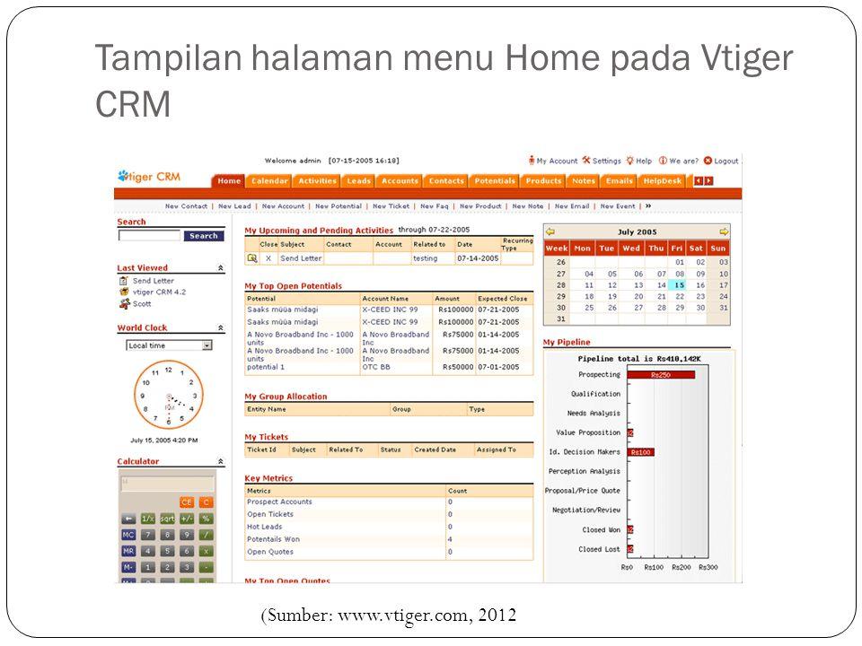 Tampilan halaman menu Home pada Vtiger CRM (Sumber: www.vtiger.com, 2012